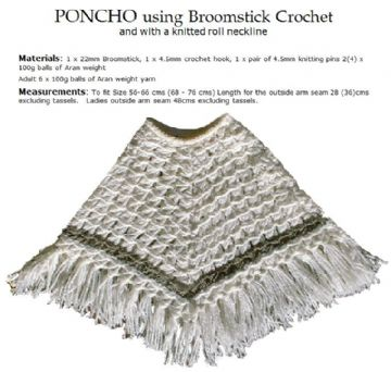 Poncho using Broomstick lace